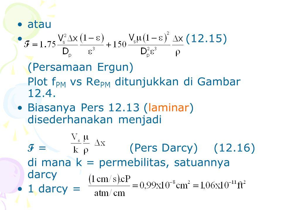 atau (12.15) (Persamaan Ergun) Plot fPM vs RePM ditunjukkan di Gambar 12.4. Biasanya Pers 12.13 (laminar) disederhanakan menjadi.