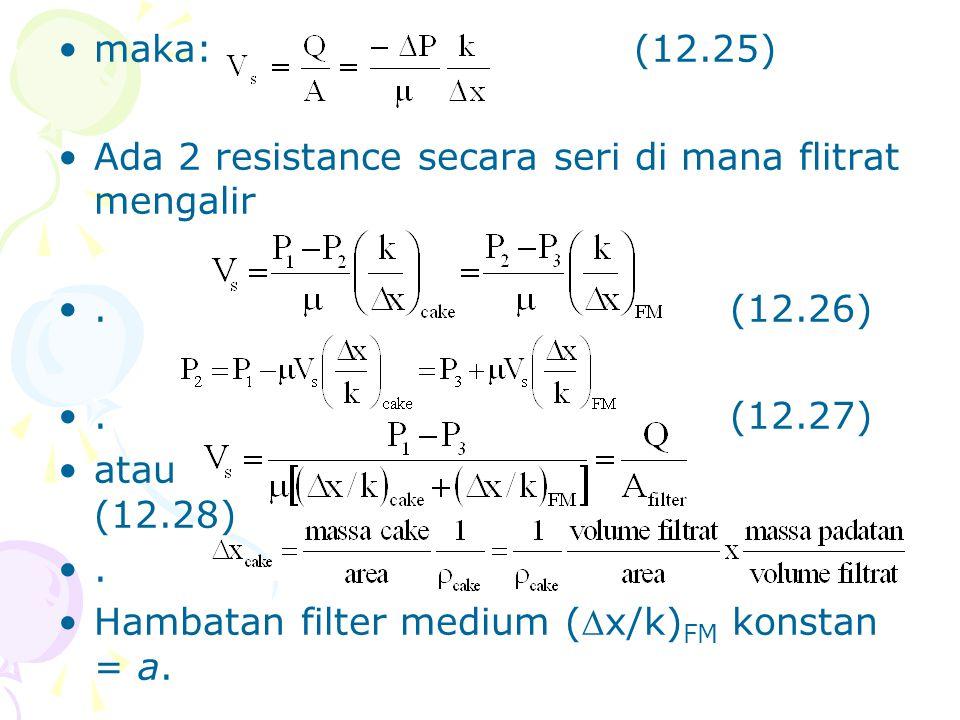 maka: (12.25) Ada 2 resistance secara seri di mana flitrat mengalir. . (12.26) . (12.27)