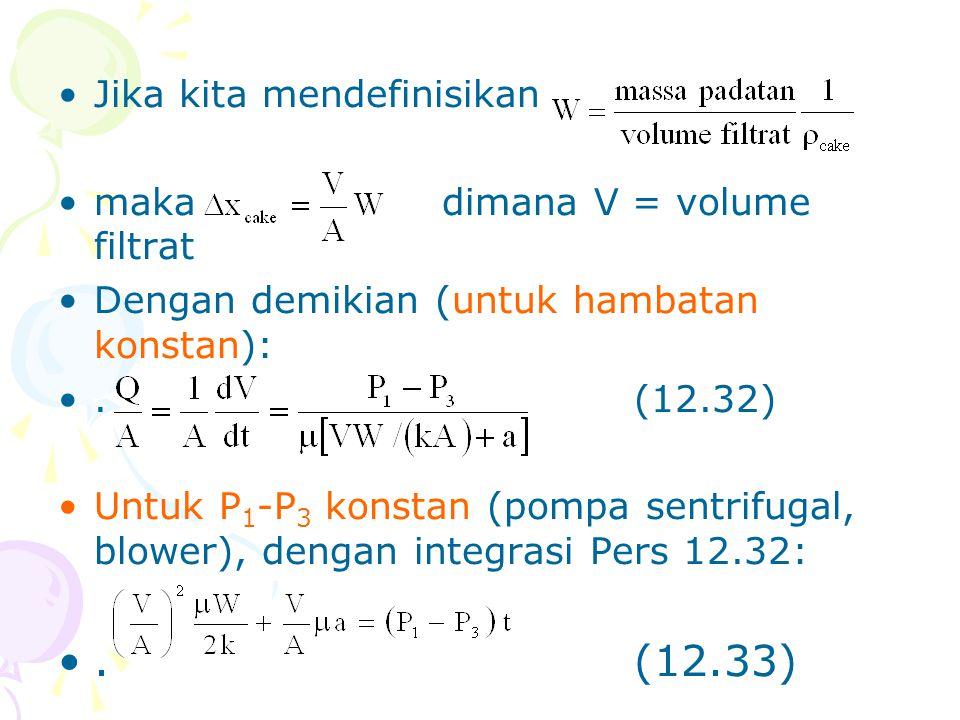 . (12.33) Jika kita mendefinisikan maka dimana V = volume filtrat