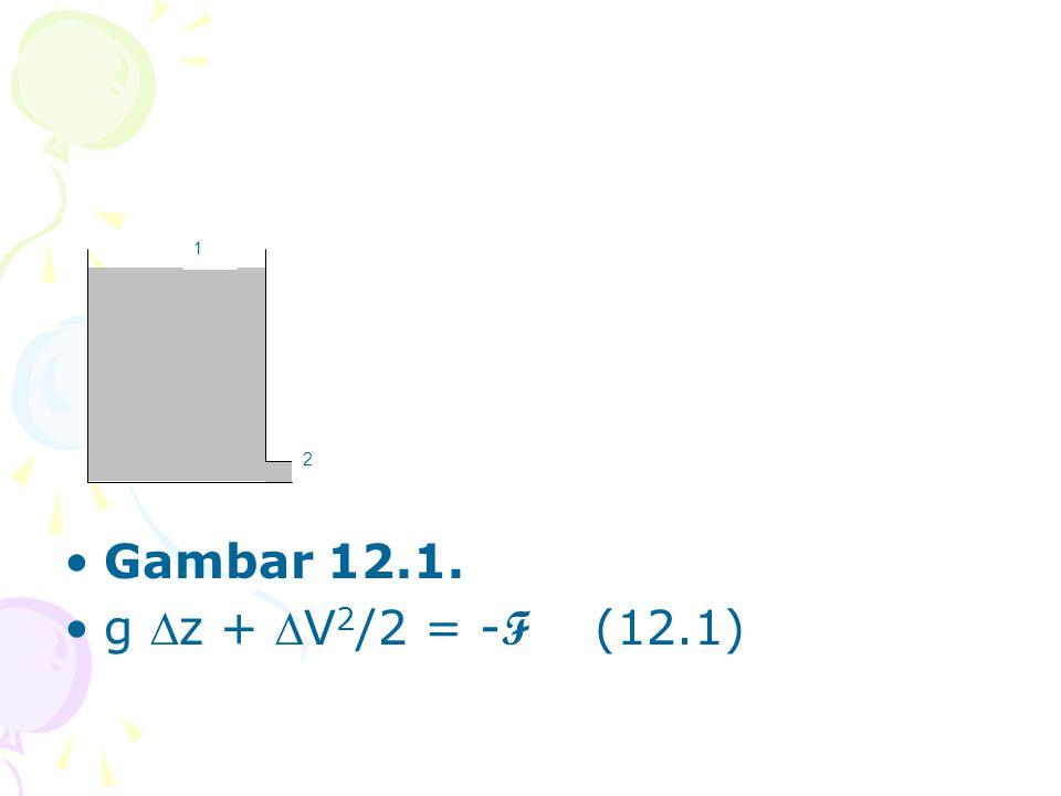 Gambar 12.1. g z + V2/2 = -F (12.1) 1 2