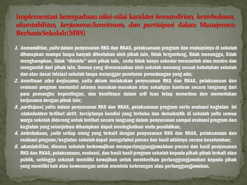 Implementasi keterpaduan nilai-nilai karakter kemandirian, keterbukaan, akuntabilitas, kerjasama/kemitraan, dan partisipasi dalam Manajemen Berbasis Sekolah (MBS)