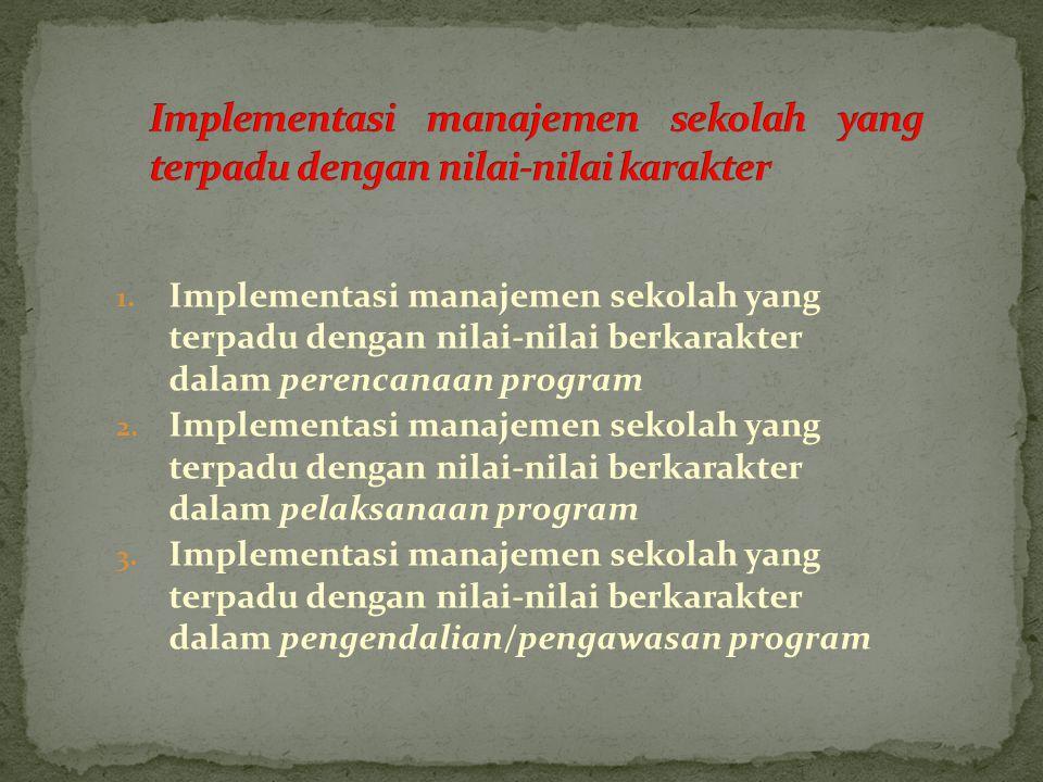 Implementasi manajemen sekolah yang terpadu dengan nilai-nilai karakter