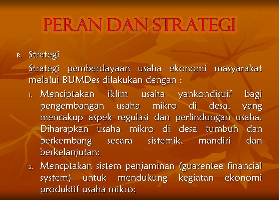 PERAN DAN STRATEGI Strategi