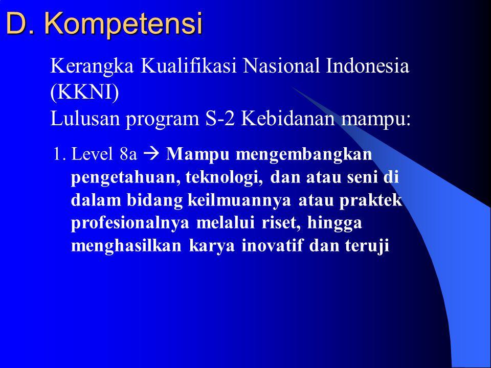 D. Kompetensi Kerangka Kualifikasi Nasional Indonesia (KKNI)