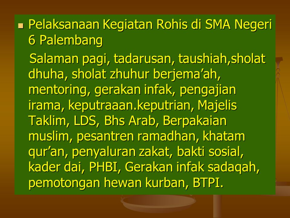 Pelaksanaan Kegiatan Rohis di SMA Negeri 6 Palembang