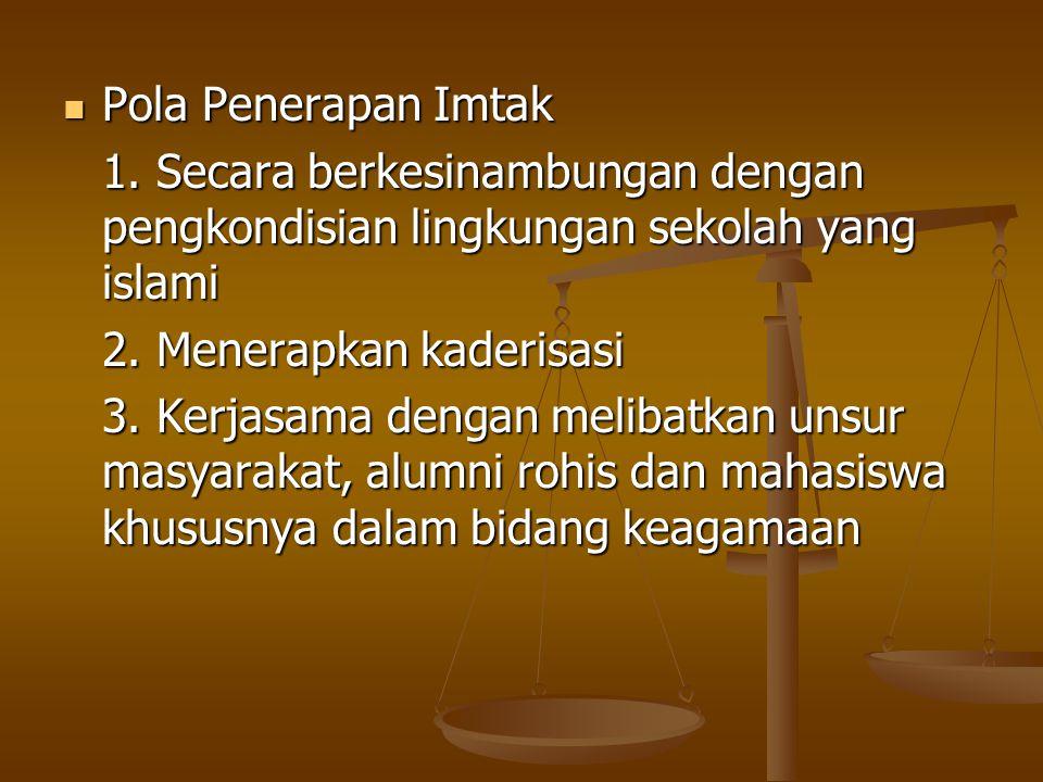 Pola Penerapan Imtak 1. Secara berkesinambungan dengan pengkondisian lingkungan sekolah yang islami.