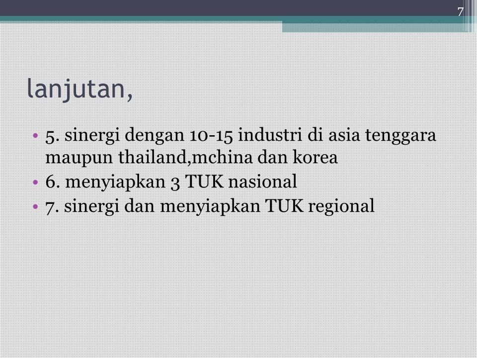 7 lanjutan, 5. sinergi dengan 10-15 industri di asia tenggara maupun thailand,mchina dan korea. 6. menyiapkan 3 TUK nasional.
