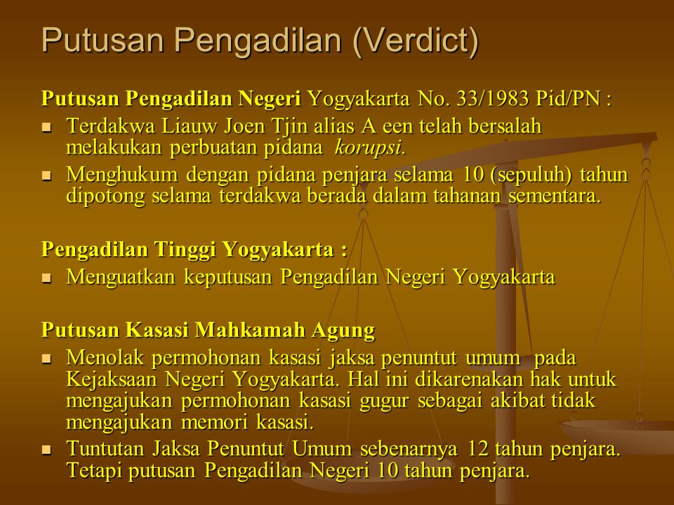 Putusan Pengadilan (Verdict)