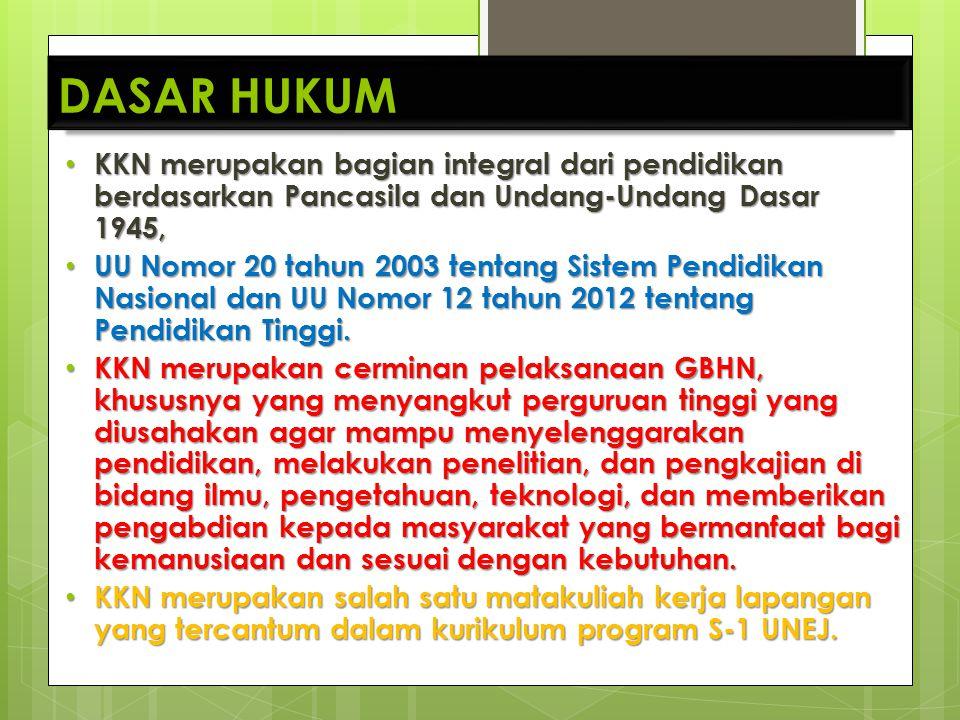 DASAR HUKUM KKN merupakan bagian integral dari pendidikan berdasarkan Pancasila dan Undang-Undang Dasar 1945,