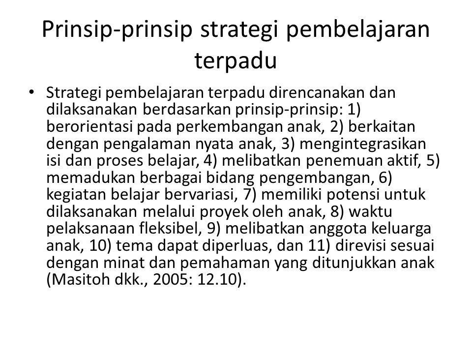 Prinsip-prinsip strategi pembelajaran terpadu