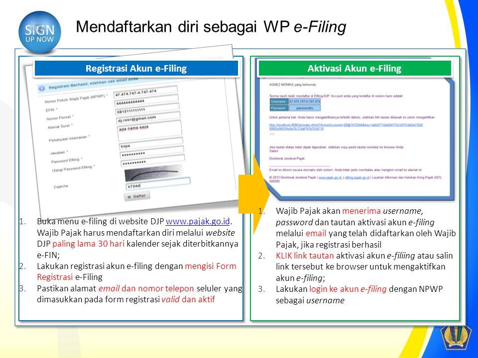 Registrasi Akun e-Filing Aktivasi Akun e-Filing