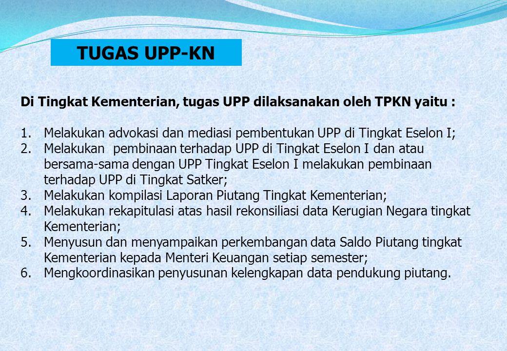 TUGAS UPP-KN Di Tingkat Kementerian, tugas UPP dilaksanakan oleh TPKN yaitu : Melakukan advokasi dan mediasi pembentukan UPP di Tingkat Eselon I;