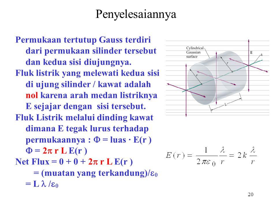 Penyelesaiannya Permukaan tertutup Gauss terdiri dari permukaan silinder tersebut dan kedua sisi diujungnya.
