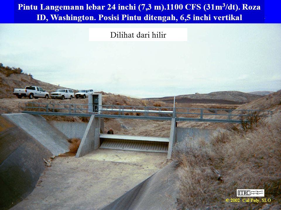 Pintu Langemann lebar 24 inchi (7,3 m). 1100 CFS (31m3/dt)