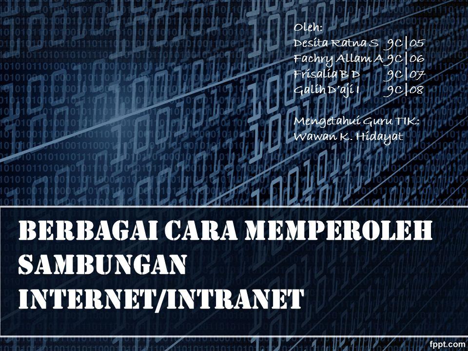 Berbagai Cara Memperoleh Sambungan Internet/Intranet