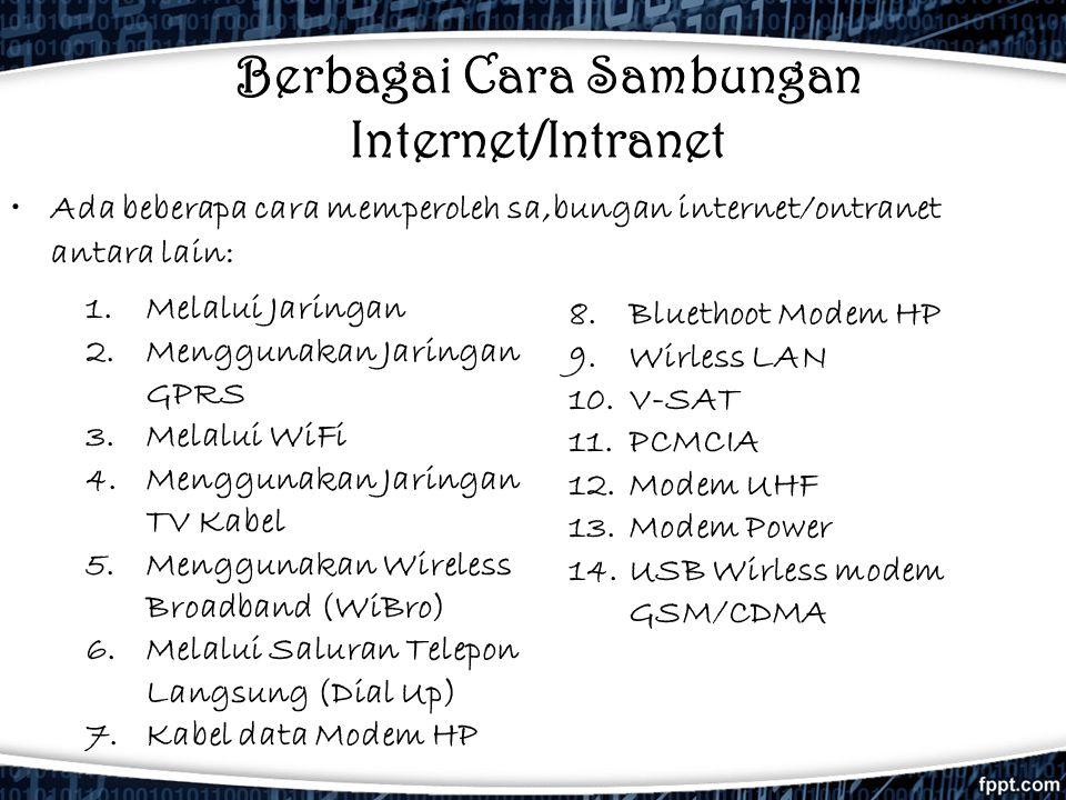 Berbagai Cara Sambungan Internet/Intranet