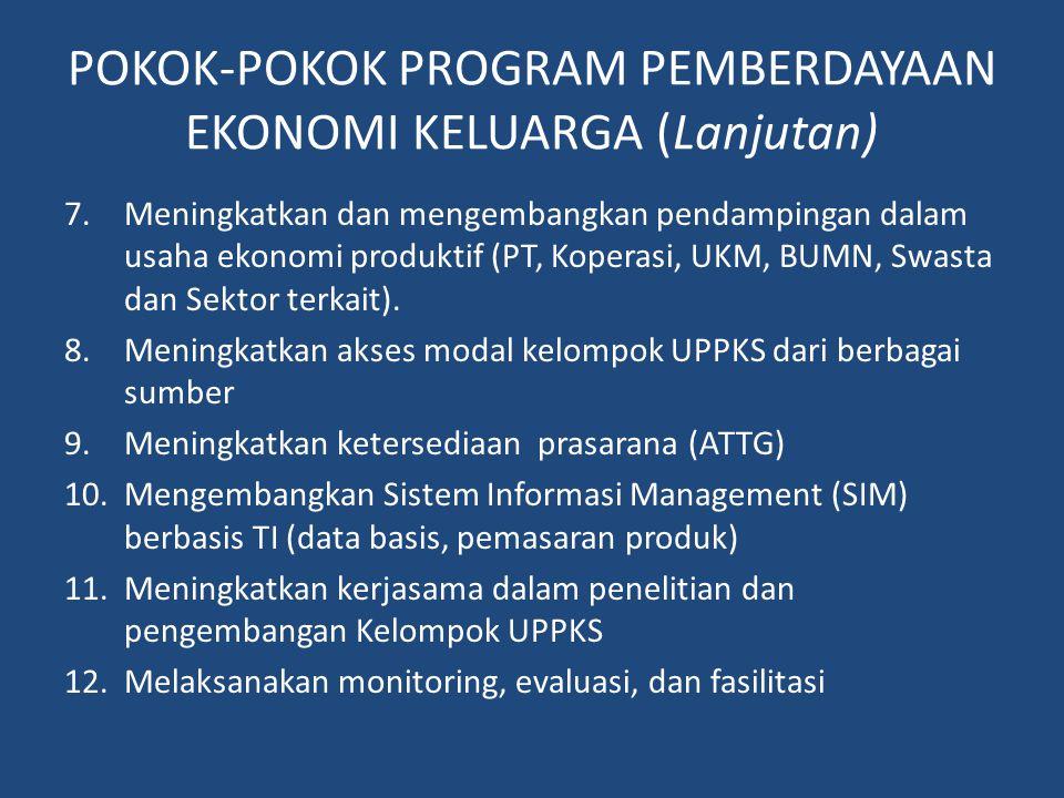 POKOK-POKOK PROGRAM PEMBERDAYAAN EKONOMI KELUARGA (Lanjutan)
