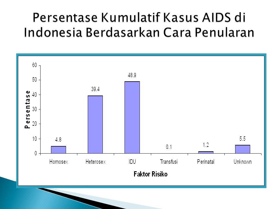 Persentase Kumulatif Kasus AIDS di Indonesia Berdasarkan Cara Penularan