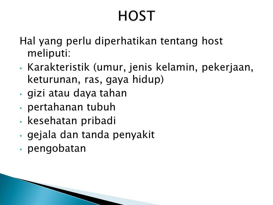 HOST Hal yang perlu diperhatikan tentang host meliputi: