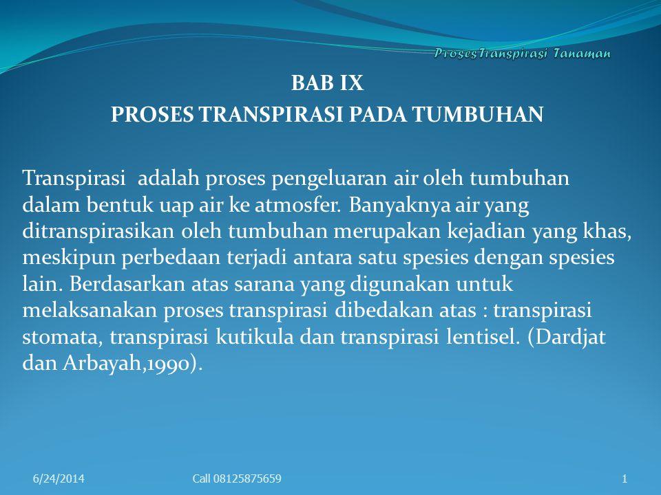 Proses Transpirasi Tanaman