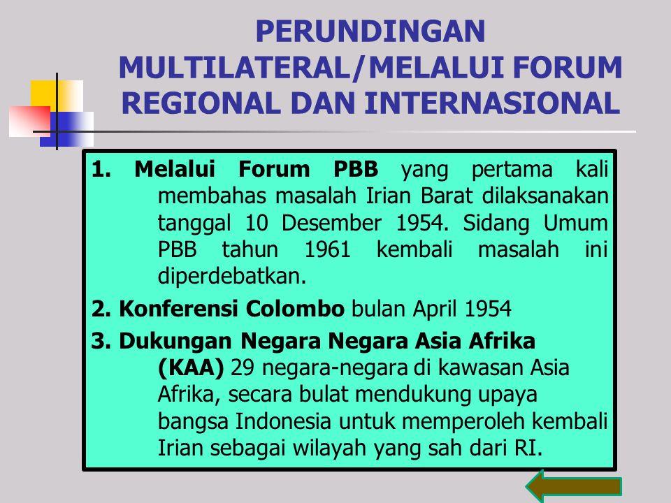 PERUNDINGAN MULTILATERAL/MELALUI FORUM REGIONAL DAN INTERNASIONAL