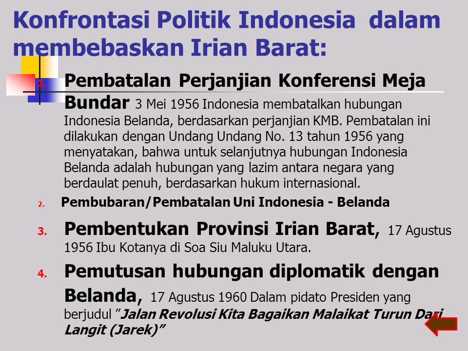 Konfrontasi Politik Indonesia dalam membebaskan Irian Barat: