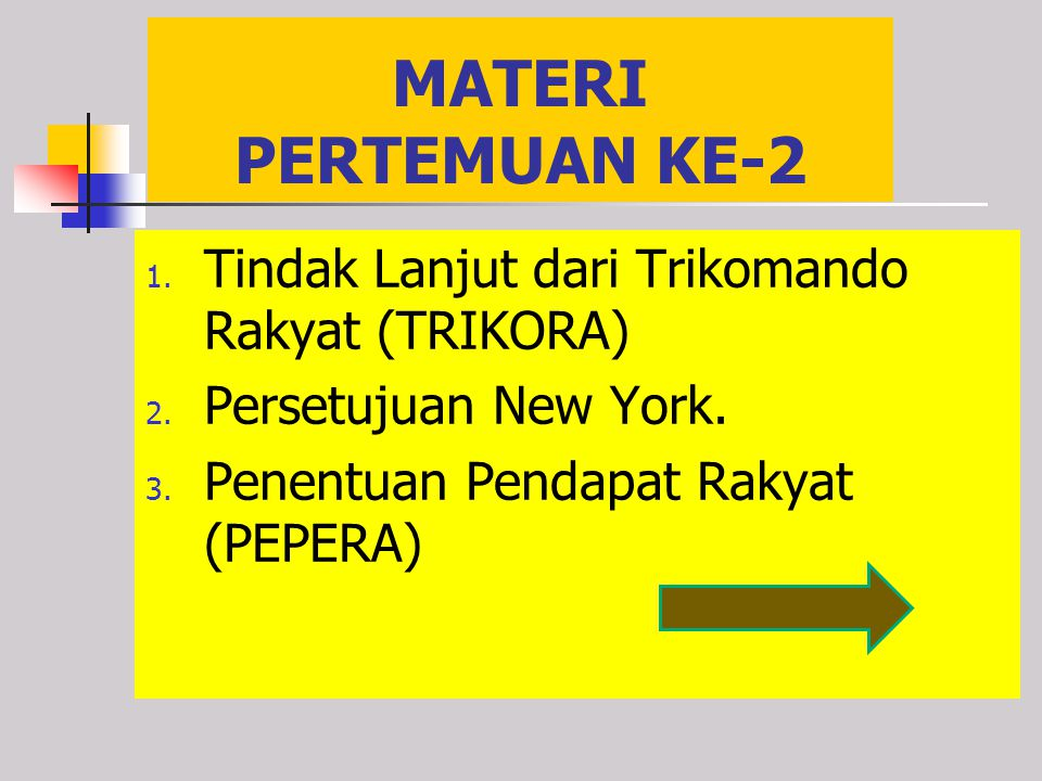 MATERI PERTEMUAN KE-2 Tindak Lanjut dari Trikomando Rakyat (TRIKORA)