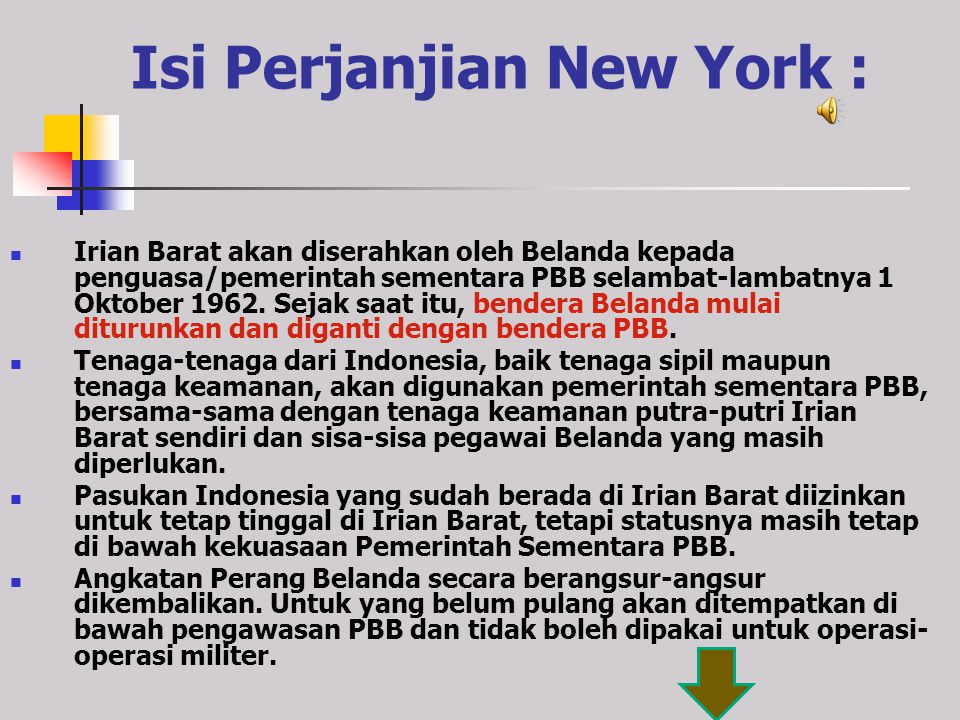 Isi Perjanjian New York :