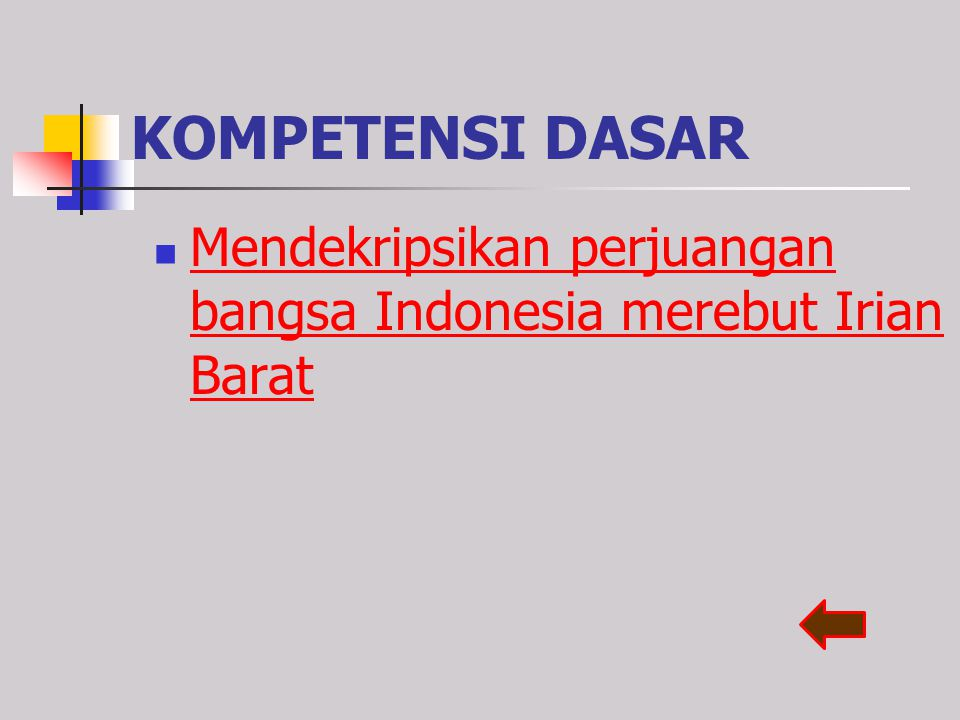 KOMPETENSI DASAR Mendekripsikan perjuangan bangsa Indonesia merebut Irian Barat