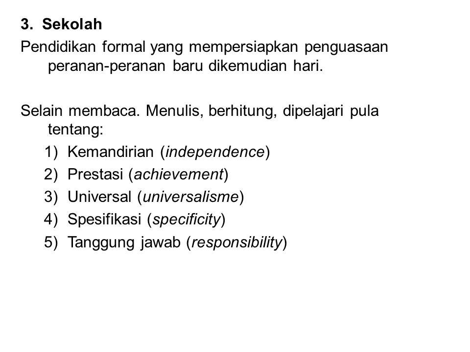 3. Sekolah Pendidikan formal yang mempersiapkan penguasaan peranan-peranan baru dikemudian hari.