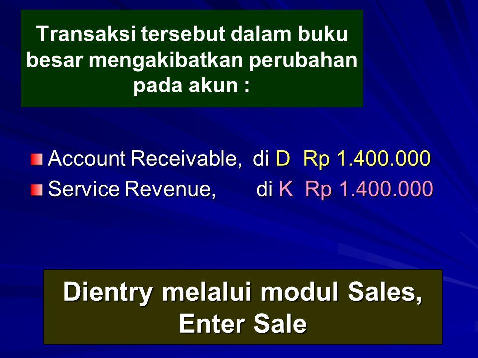 Dientry melalui modul Sales, Enter Sale