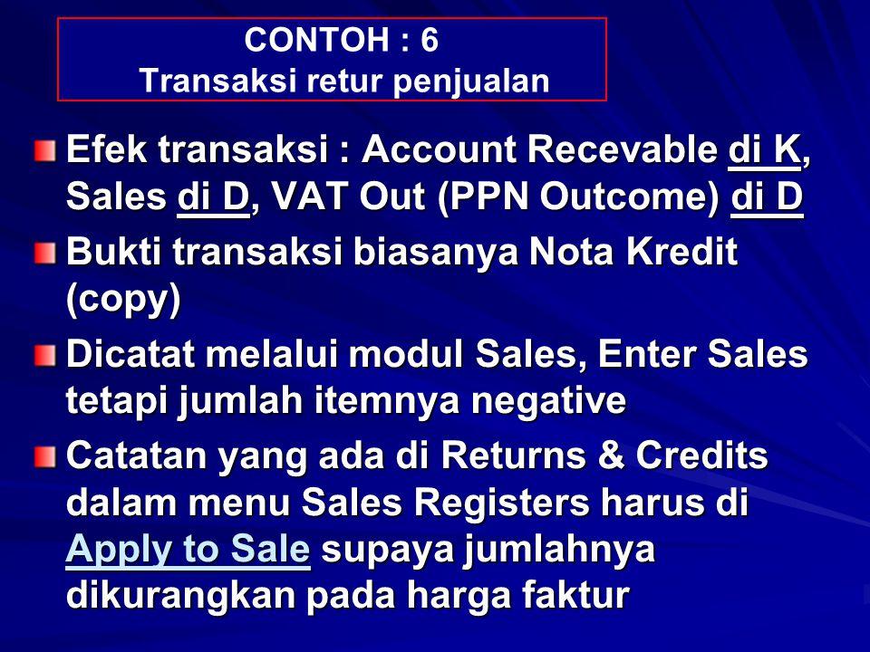 CONTOH : 6 Transaksi retur penjualan