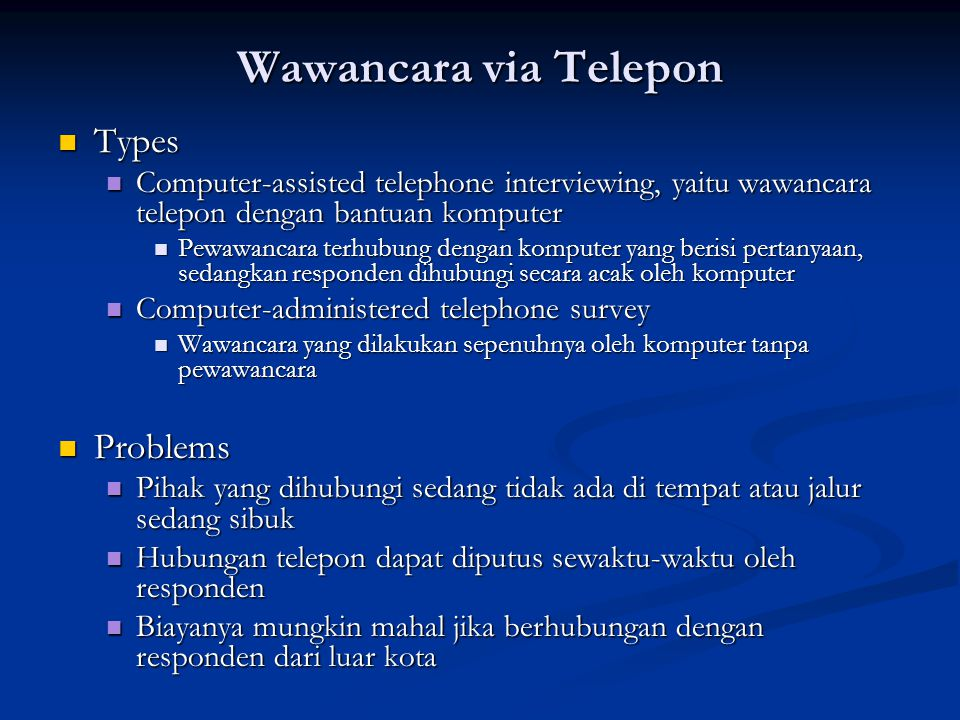 Wawancara via Telepon Types Problems
