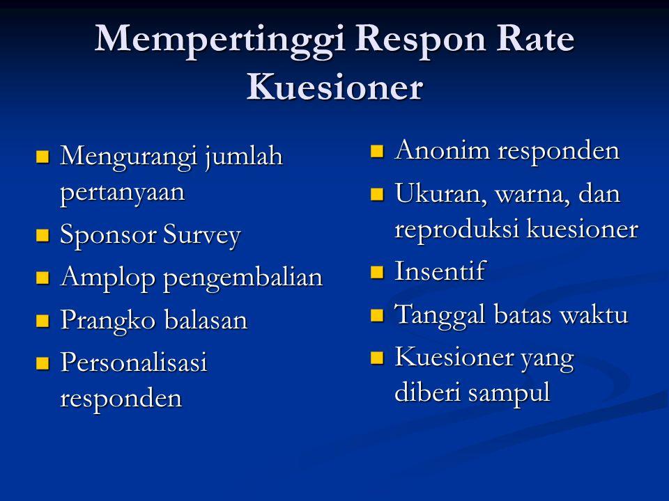 Mempertinggi Respon Rate Kuesioner