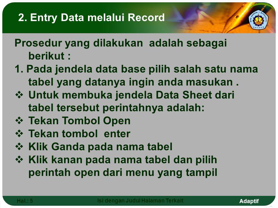 2. Entry Data melalui Record Isi dengan Judul Halaman Terkait