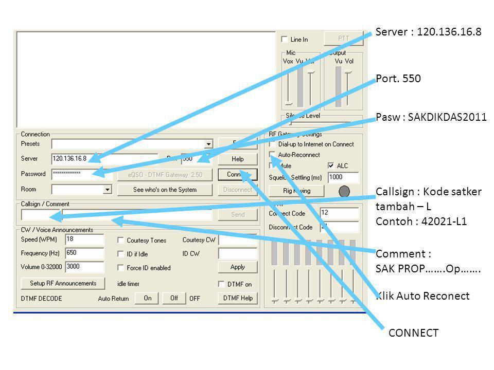 Callsign : Kode satker tambah – L Contoh : 42021-L1