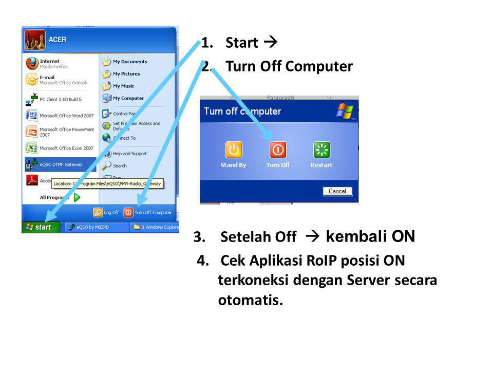 Start  Turn Off Computer. 3. Setelah Off  kembali ON.