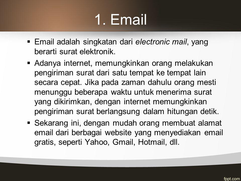 1. Email Email adalah singkatan dari electronic mail, yang berarti surat elektronik.