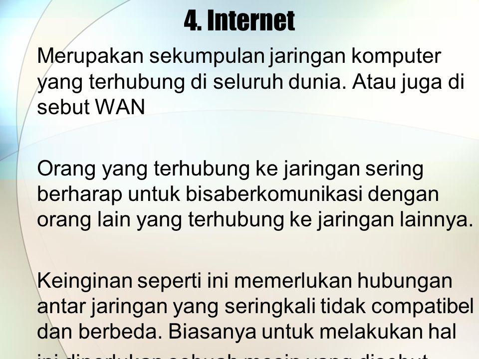 4. Internet Merupakan sekumpulan jaringan komputer yang terhubung di seluruh dunia. Atau juga di sebut WAN.