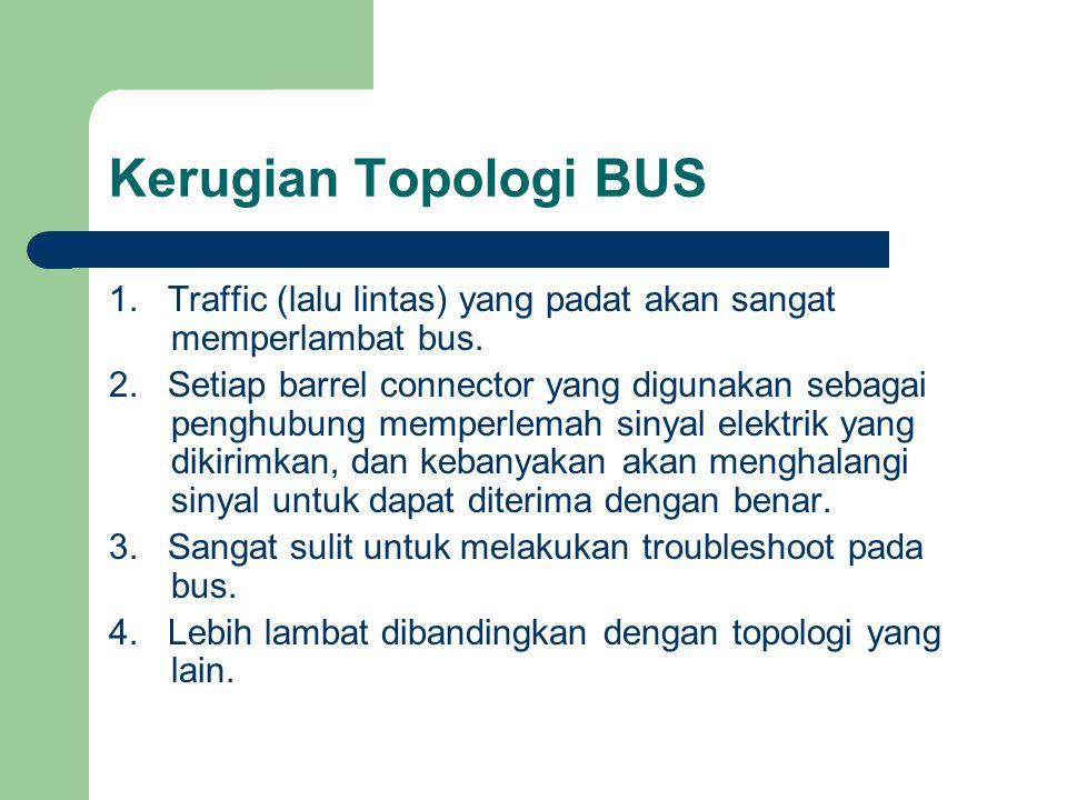 Kerugian Topologi BUS 1. Traffic (lalu lintas) yang padat akan sangat memperlambat bus.