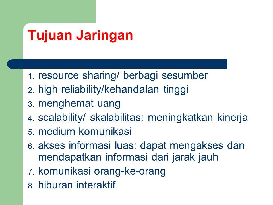 Tujuan Jaringan resource sharing/ berbagi sesumber