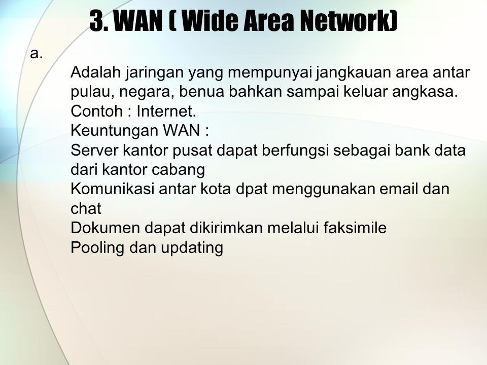 3. WAN ( Wide Area Network)
