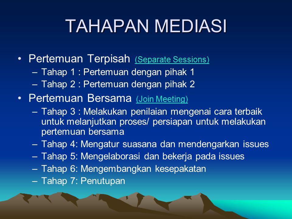 TAHAPAN MEDIASI Pertemuan Terpisah (Separate Sessions)