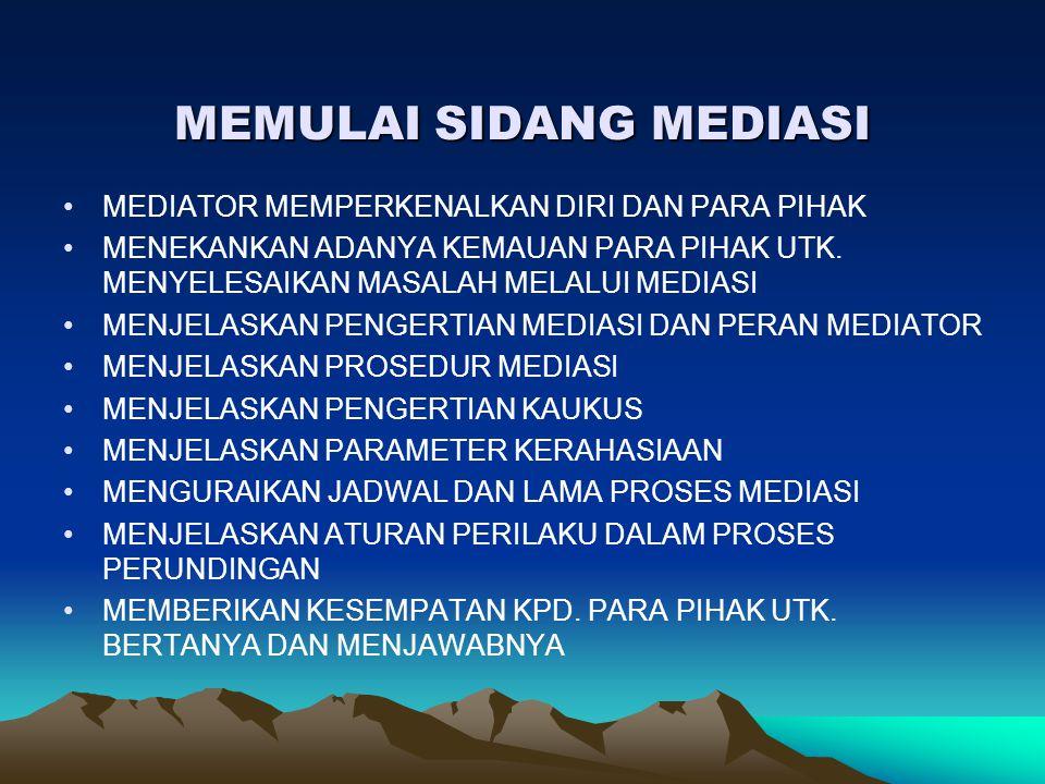 MEMULAI SIDANG MEDIASI