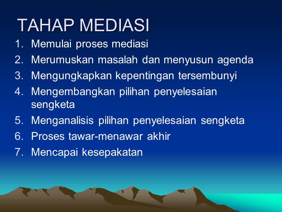 TAHAP MEDIASI Memulai proses mediasi