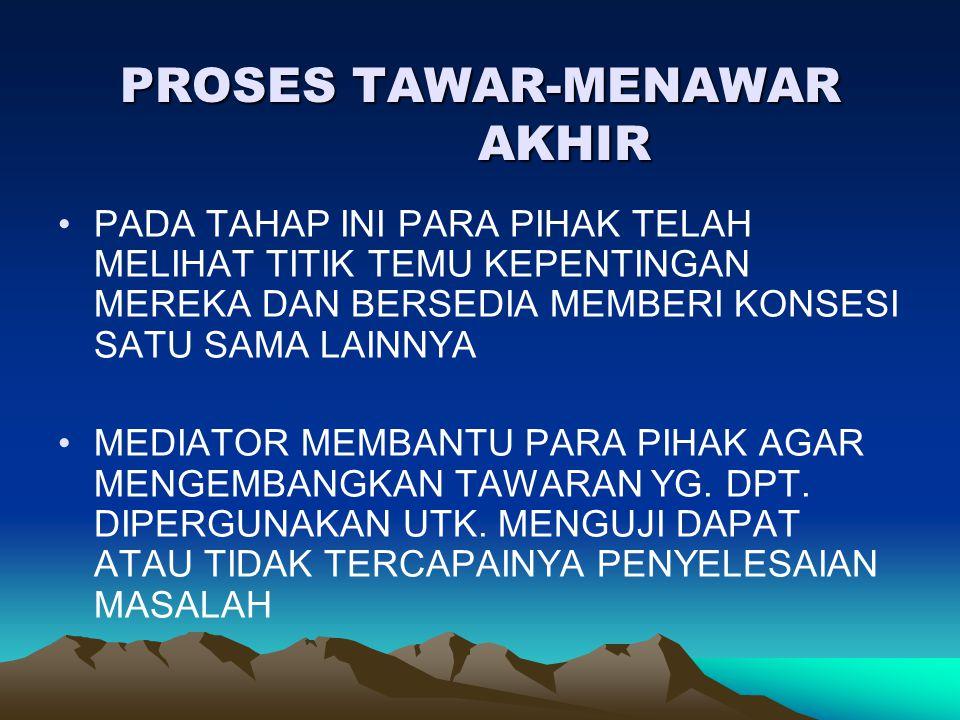 PROSES TAWAR-MENAWAR AKHIR