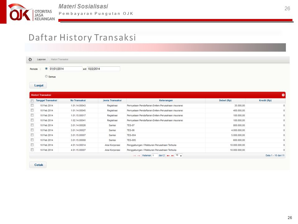 Daftar History Transaksi