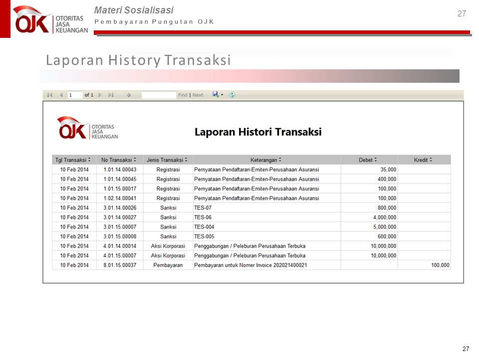 Laporan History Transaksi