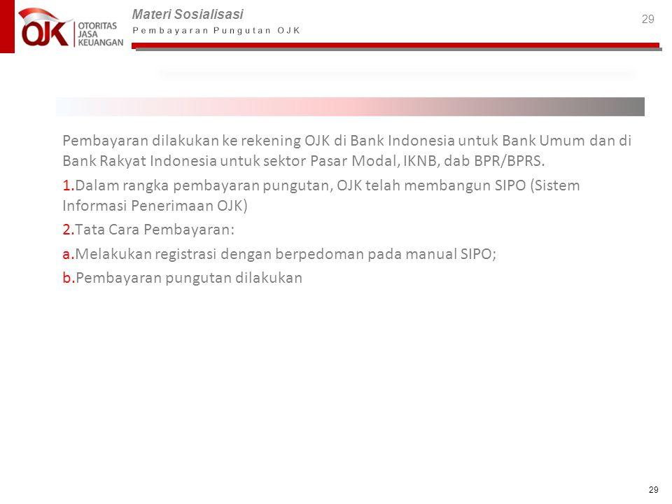 Pembayaran dilakukan ke rekening OJK di Bank Indonesia untuk Bank Umum dan di Bank Rakyat Indonesia untuk sektor Pasar Modal, IKNB, dab BPR/BPRS.