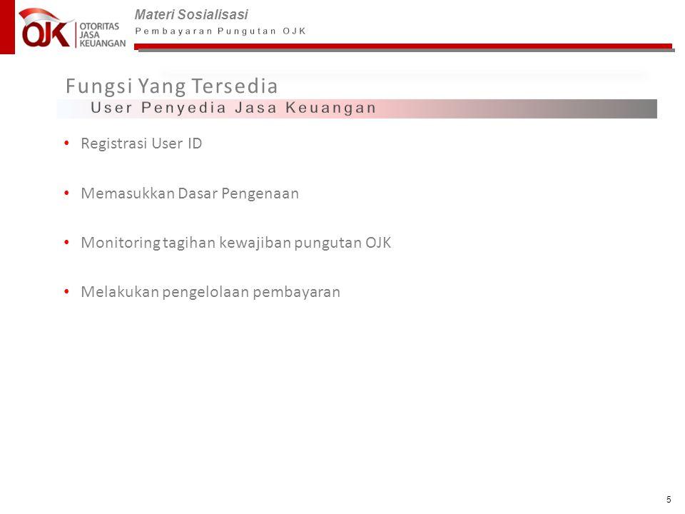 Fungsi Yang Tersedia Registrasi User ID Memasukkan Dasar Pengenaan